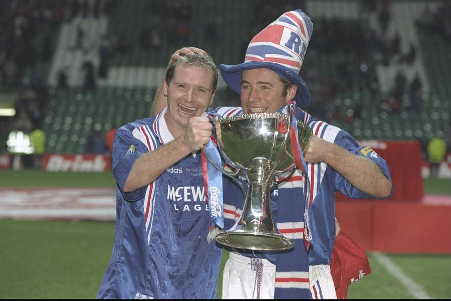 Paul Gascoigne (left) and teammate Ally McCoist Photograph by Mark Thompson