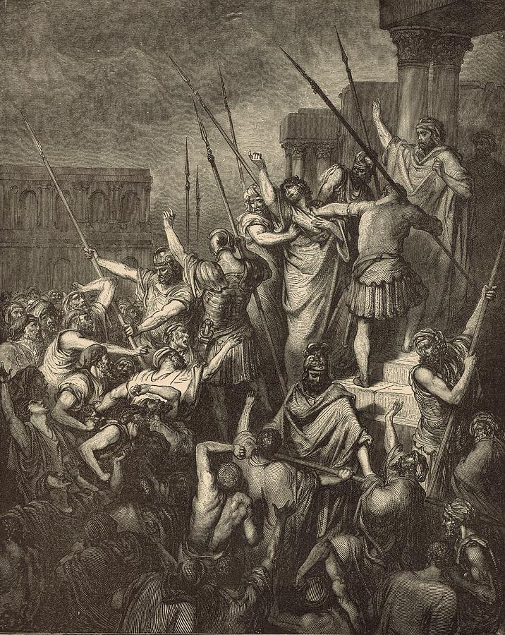 Biblical Drawing - Paul Menaced By The Jews by Antique Engravings