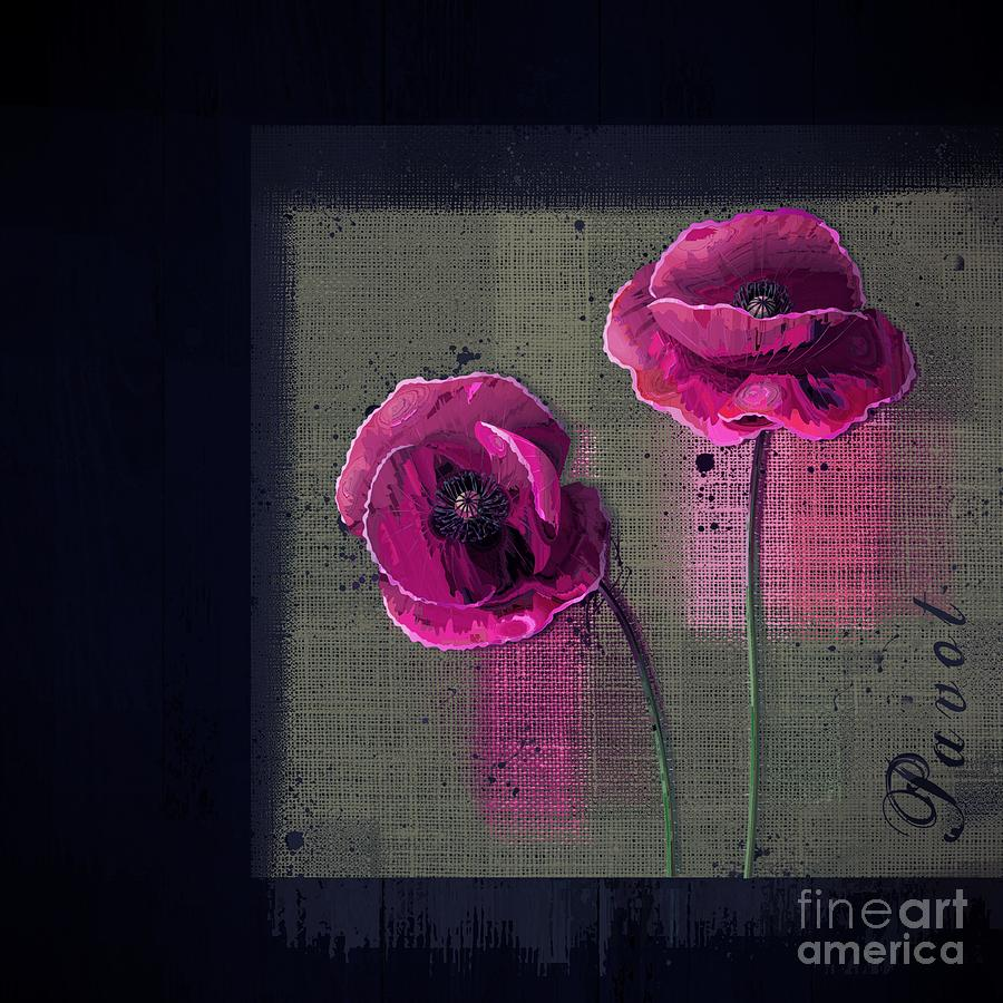 Poppies Digital Art - Pavot - S1c12j033036161bl1 by Variance Collections