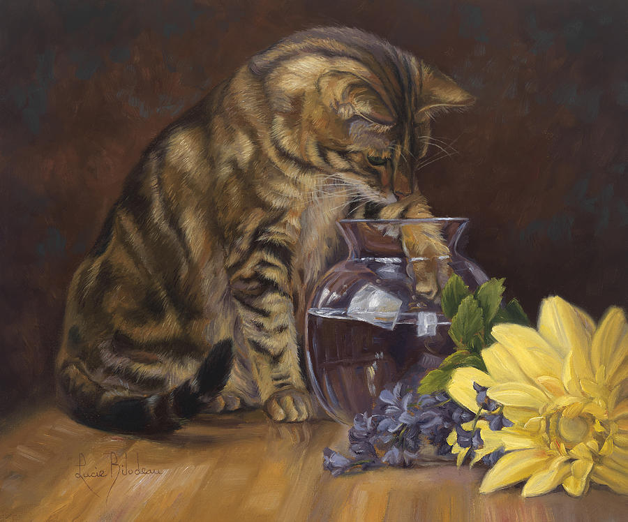 Cat Painting - Paw in the Vase by Lucie Bilodeau