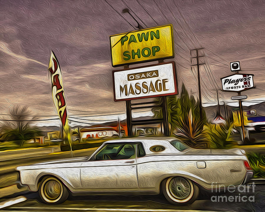 Retro Sign Painting - Pawn - Pool - Massage by Gregory Dyer