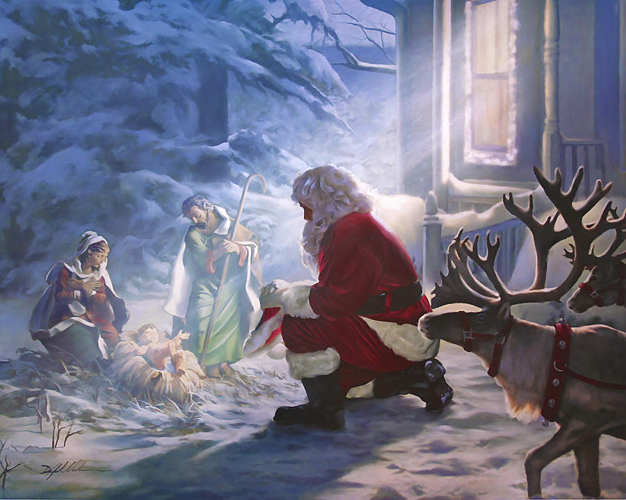 Christian Painting - Santa Paying Homage by Danny Hahlbohm