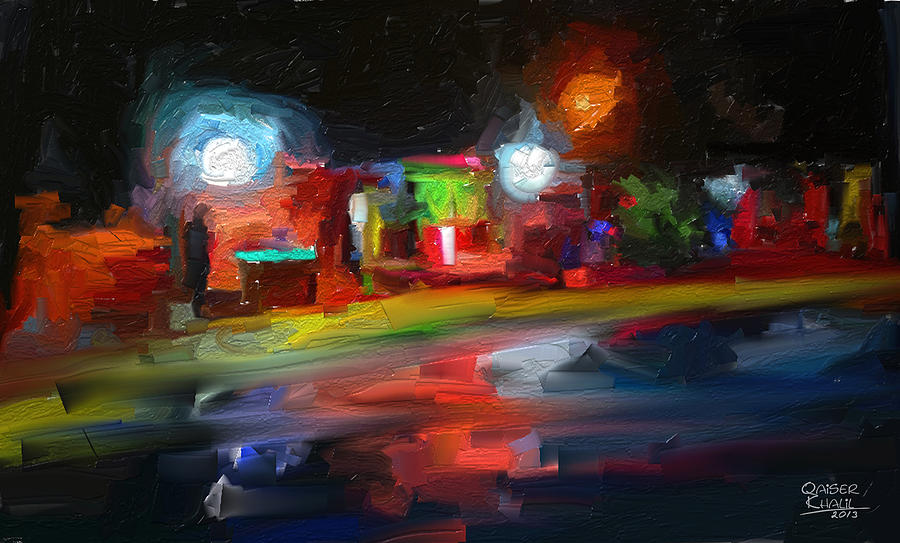 Painting Painting - Pcific Lights by Qaiser Khalil