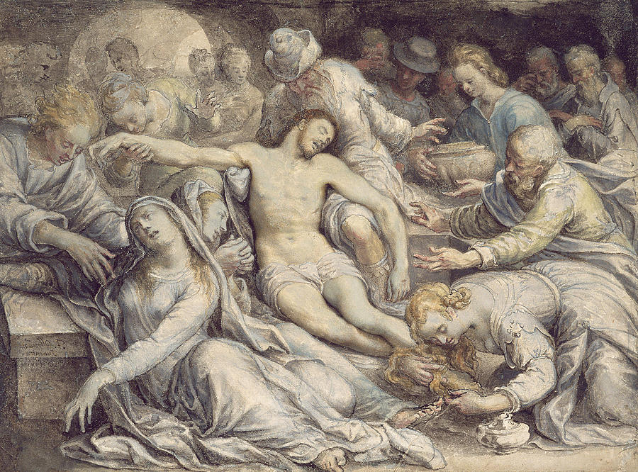 Lamentation Painting - The Lamentation Over The Dead by Isaac Oliver