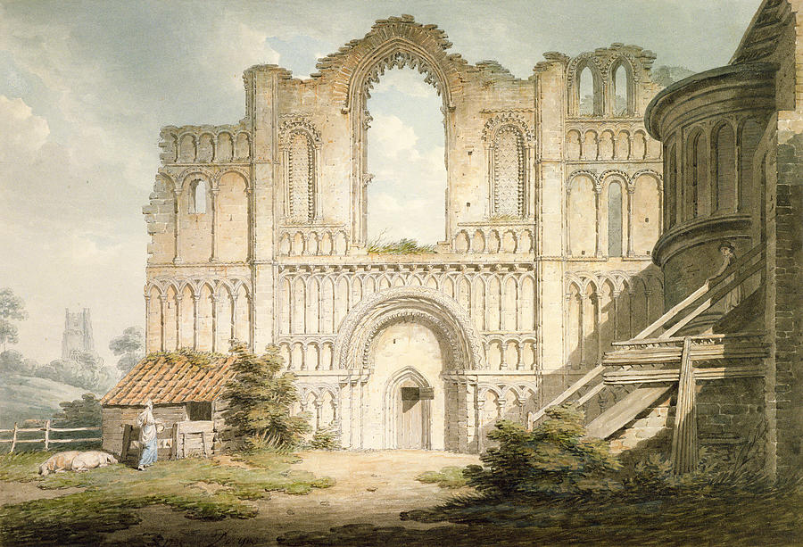 Ruin Drawing - Pd.56-1958 West Front Of Castle Acre by Edward Dayes