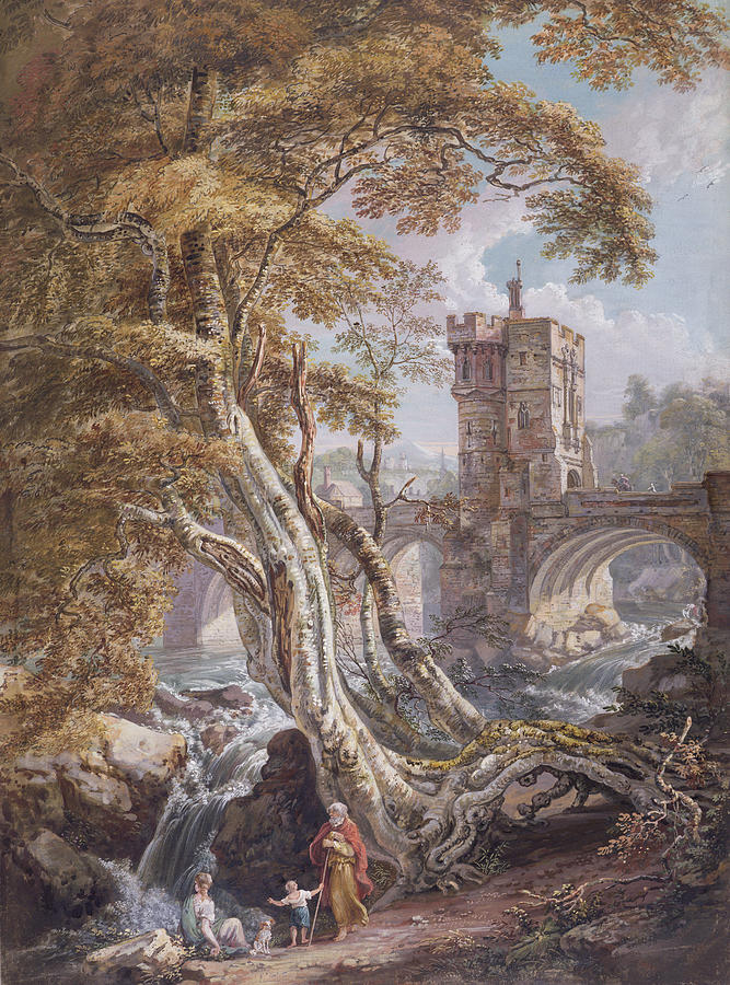 Tree Painting - View Of The Old Welsh Bridge by Paul Sandby
