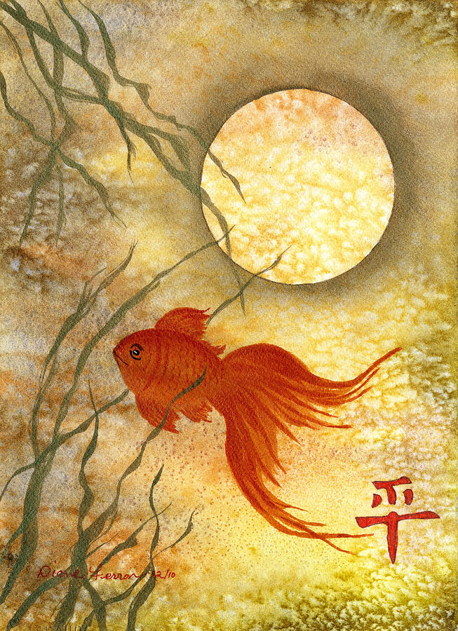 Goldfish Painting - Peace And Balance by Diane Ferron