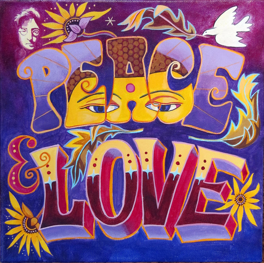 Love Painting - Peace and love by Jane Tomlinson