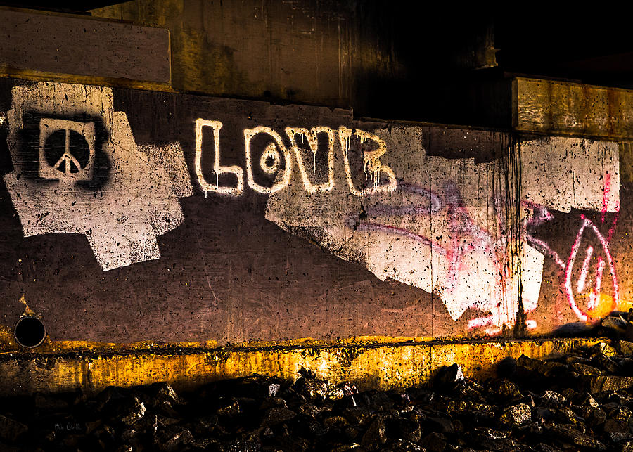 Peace Photograph - Peace And Love Under The Bridge by Bob Orsillo