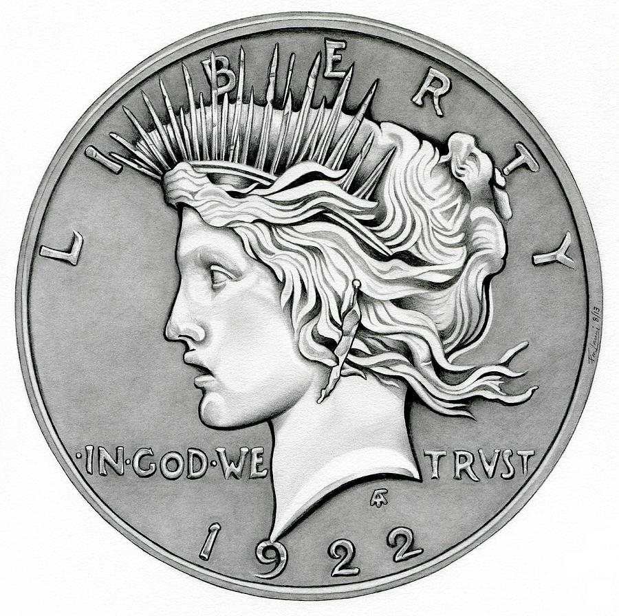 Graphite Peace Dollar Drawing By Fred Larucci