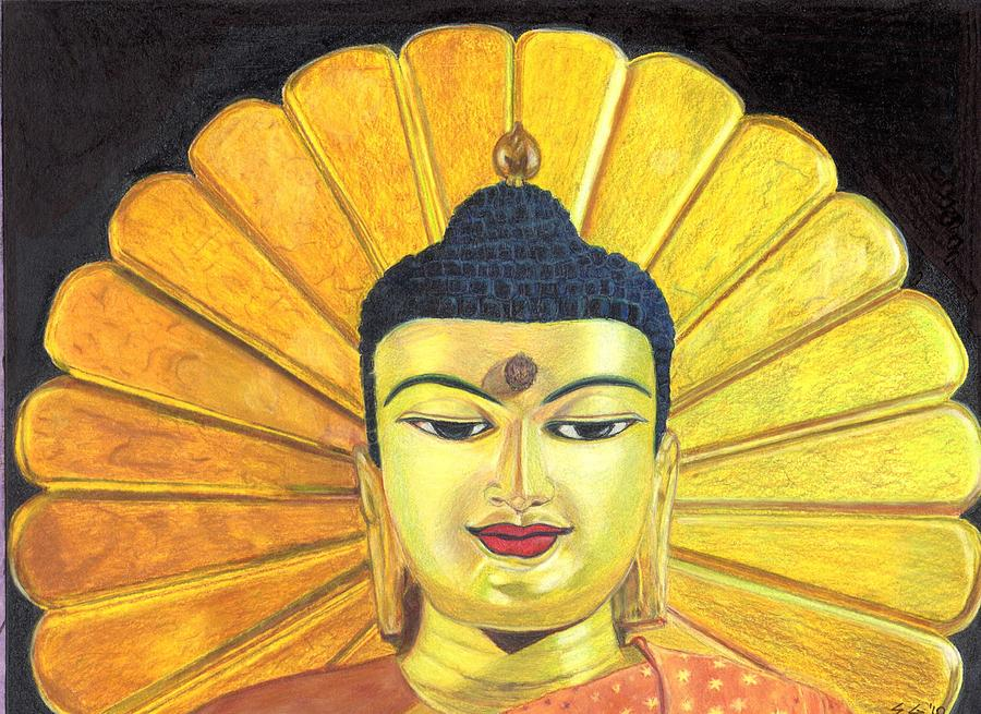 Buddha Drawing - Peace by Ekta Gupta