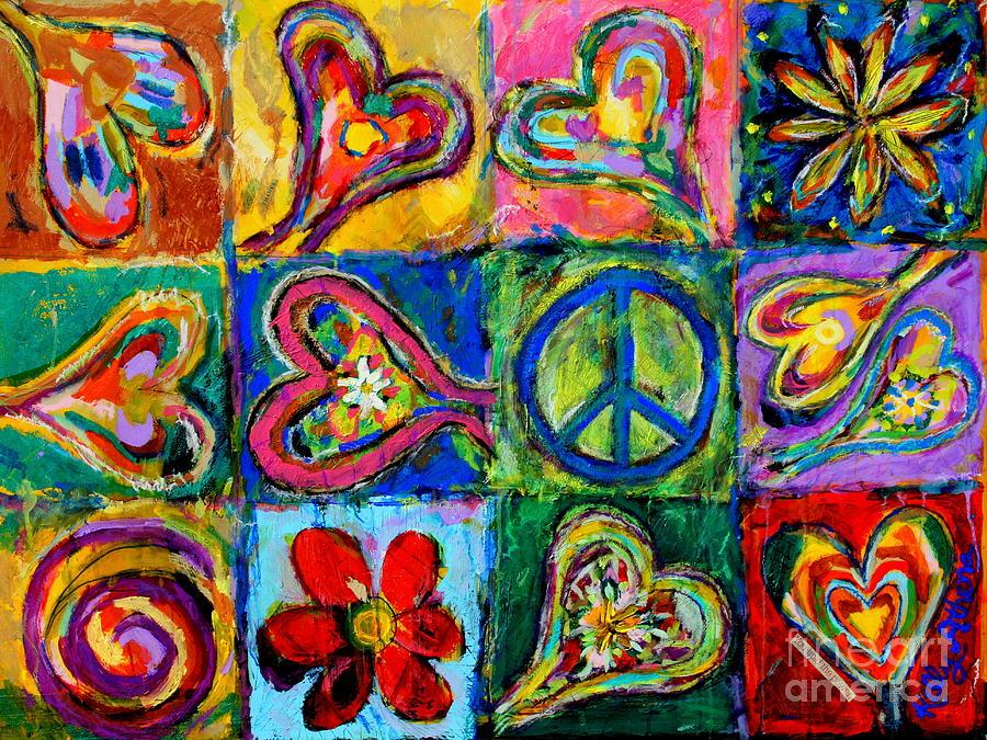 Happy Hearts Painting - Peace by Kelly Athena