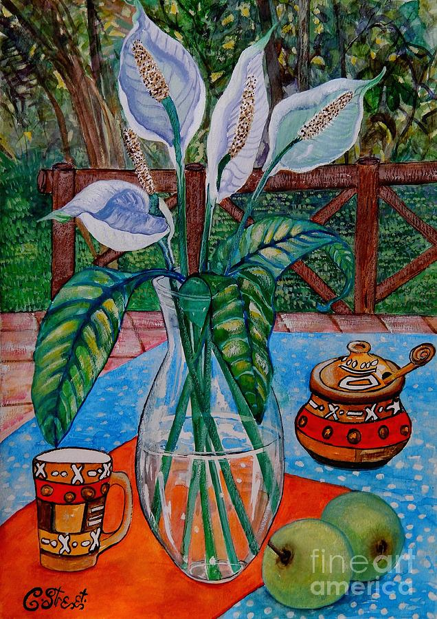 Flowers Painting - Peace Lilies On The Patio by Caroline Street