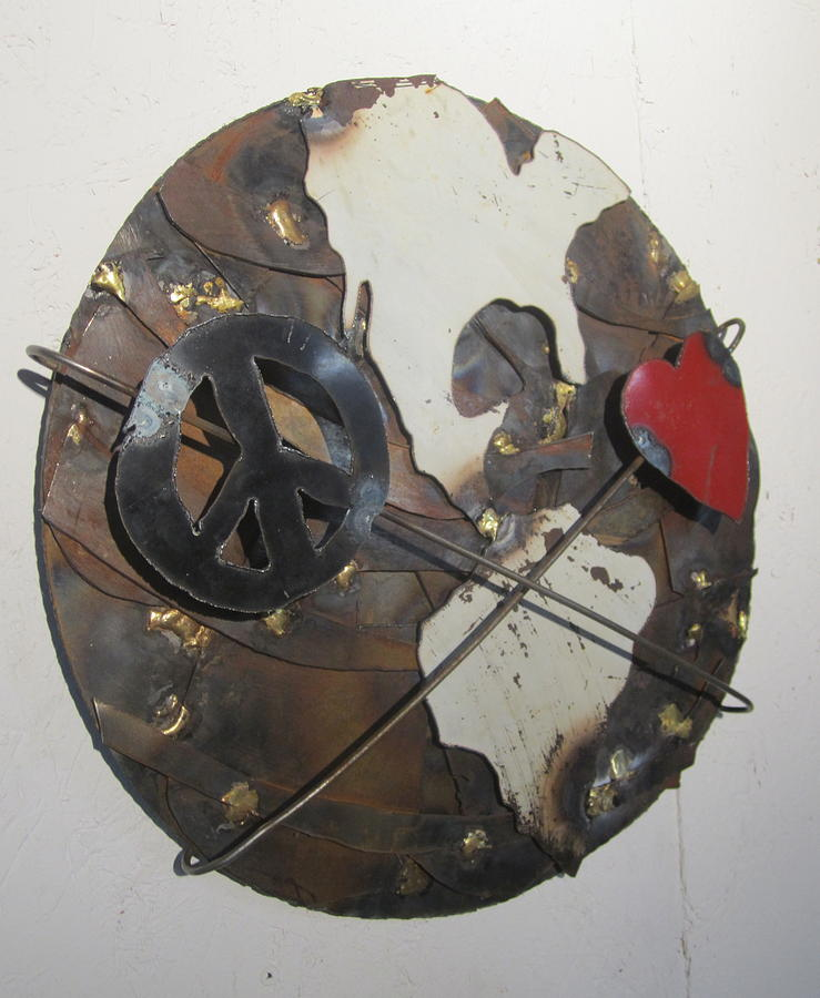 Steel Sculpture - Peace Love And Earth Recycled Sculpture by Robert Blackwell