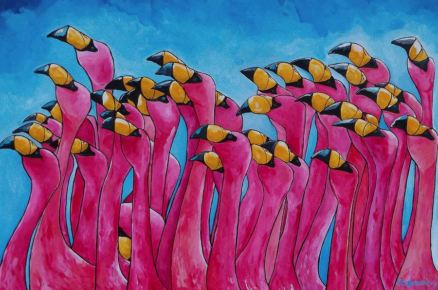 Flamingos Painting - Peace Love And Flamingos by Patti Schermerhorn
