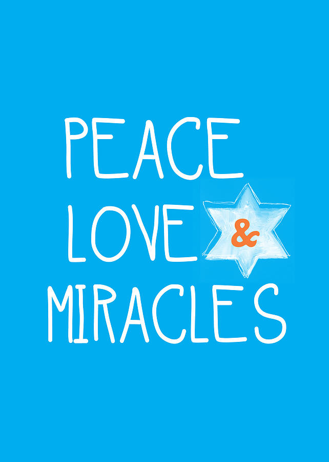 Chanukah Card Painting - Peace Love And Miracles With Star Of David by Linda Woods