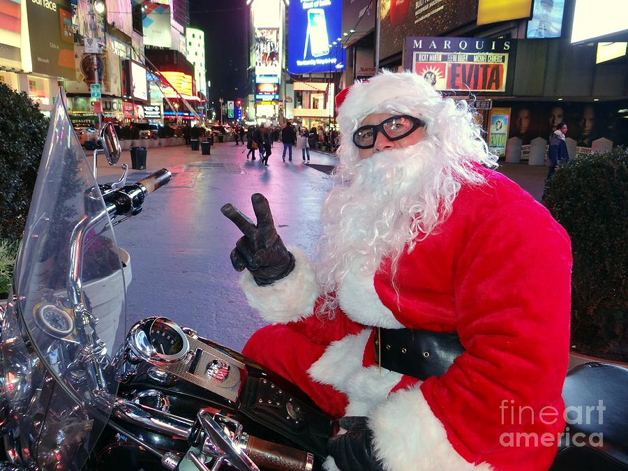 Times Square Photograph - Peace Santa by Ed Weidman