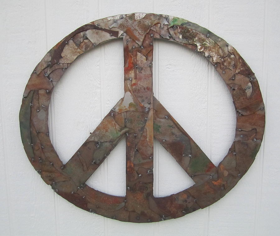 Patina Sculpture - Peace Sign From Pieces Recylced Metal Wall Sculpture by Robert Blackwell