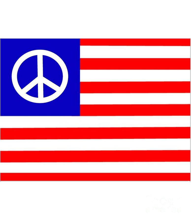 Peace Digital Art - Peace Usa Flag by Frederick Holiday
