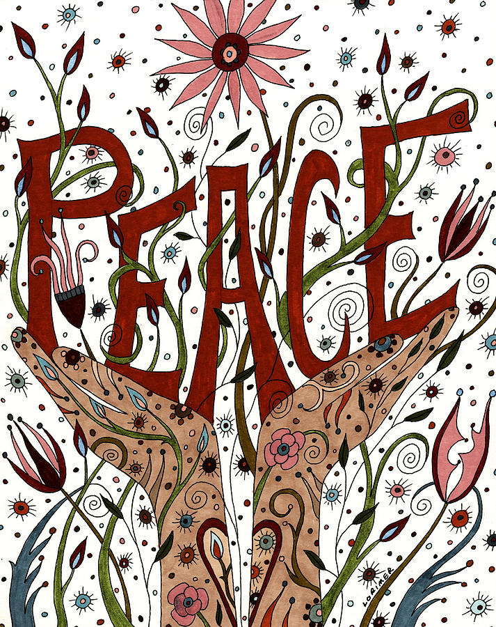 Floral Mixed Media - Peace by Valerie Lorimer