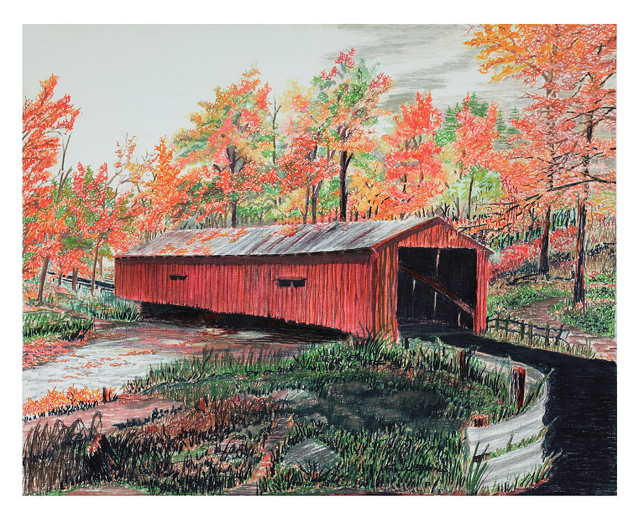 Country Landscape Drawing - Peaceful Bridge In Autumn by Frank Evans