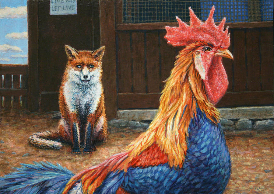 Rooster Painting - Peaceful Coexistence by James W Johnson