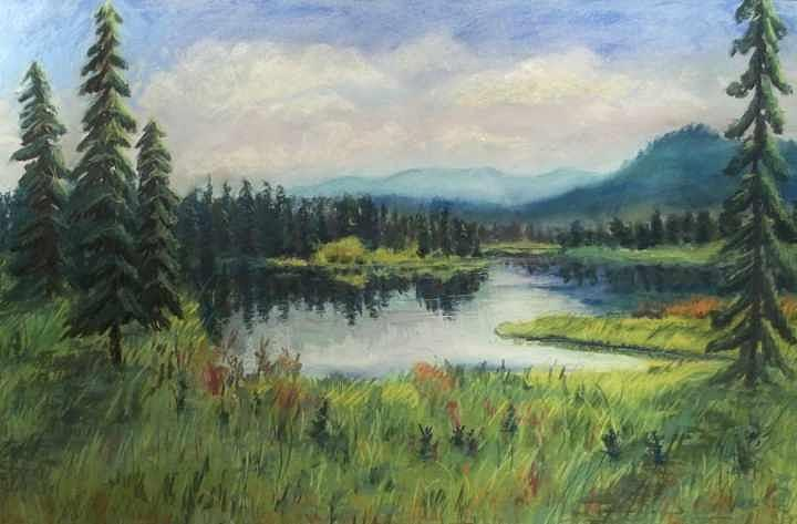 Mountain Valley Pastel - Peaceful Day by Peg Vasil