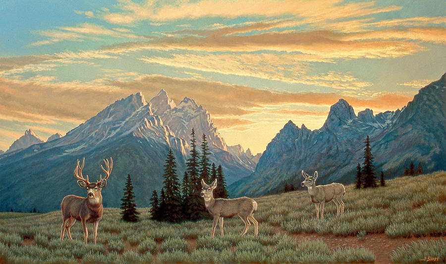 Landscape Painting - Peaceful Evening - Tetons by Paul Krapf