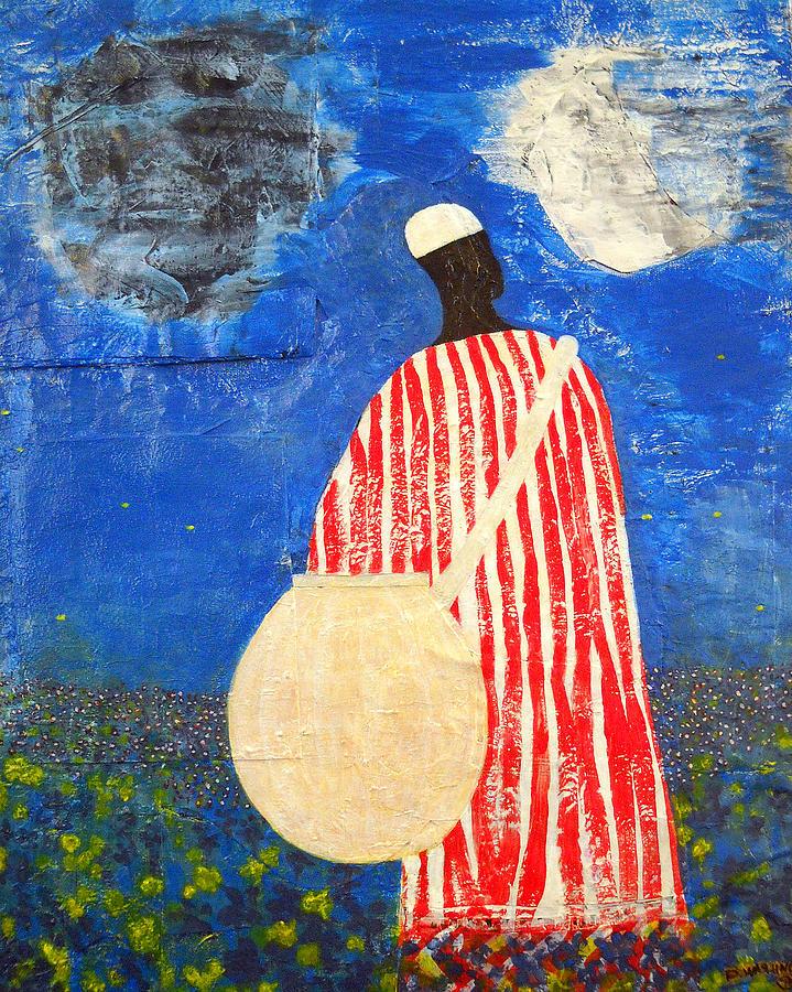 Man Painting - Peaceful Garden by Duwayne Washington