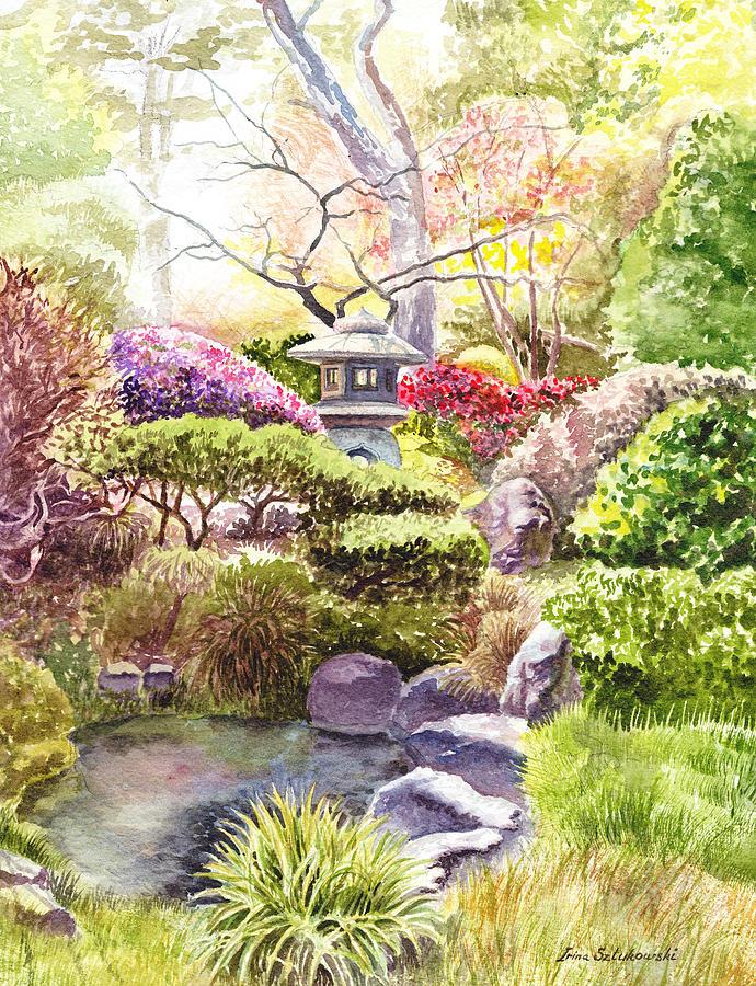 Affirmation Painting - Peaceful Garden by Irina Sztukowski