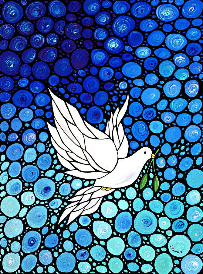 Christmas Painting - Peaceful Journey - White Dove Peace Art by Sharon Cummings