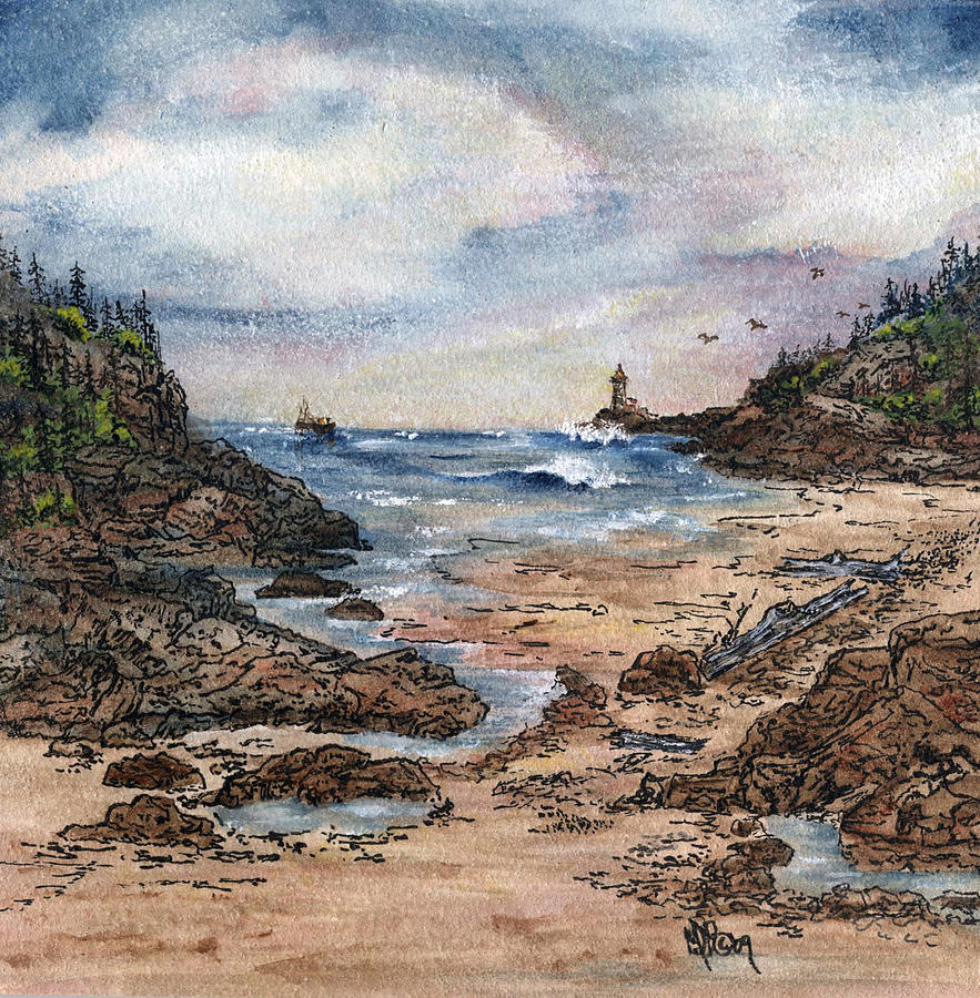 Lighthouse Painting - Peaceful Ocean by Meldra Driscoll