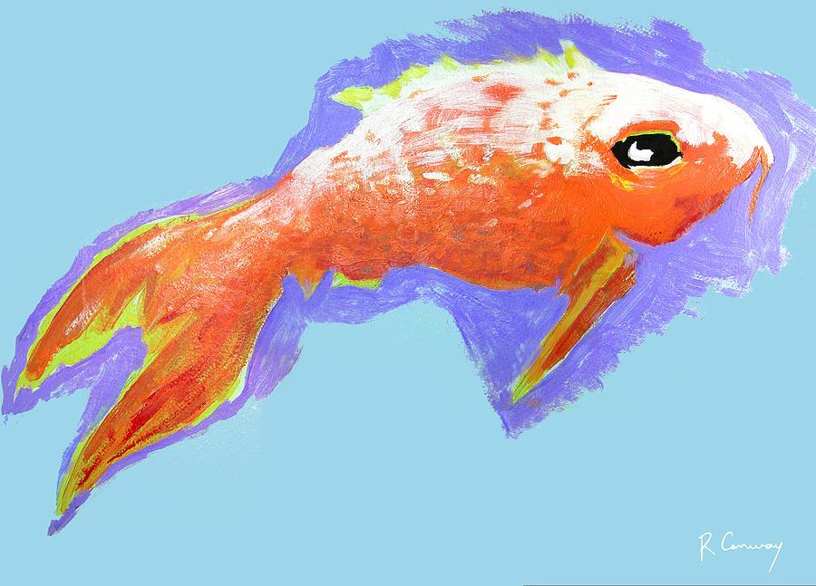 Goldfish Painting - Peaceful Orange Goldfish by Robert Conway