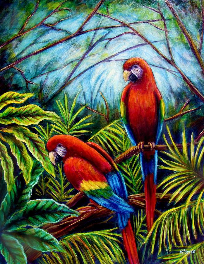 Parrot Painting - Peaceful Parrots by Sebastian Pierre