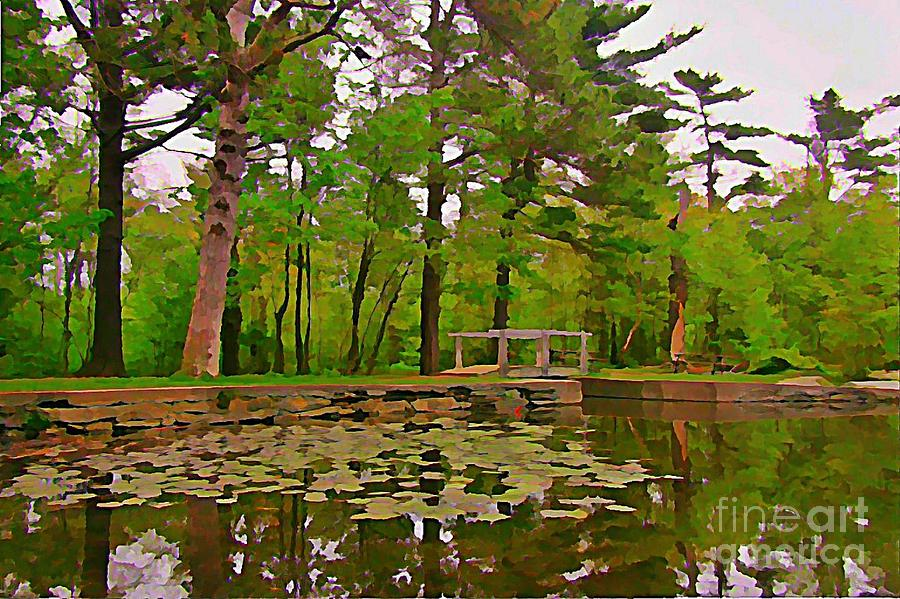 Landscape Paintings Painting - Peaceful Pond by John Malone