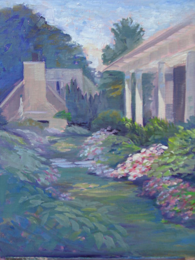 Summer Painting - Peaceful Portico by Judy Fischer Walton