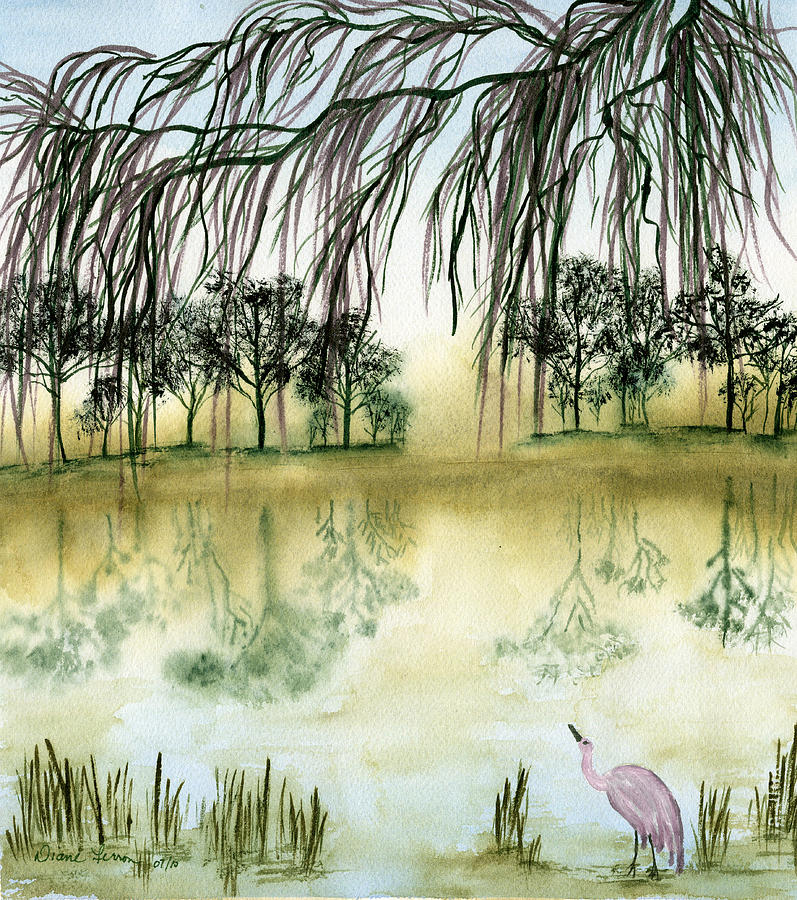 Crane Willow Tree Water Zen Peaceful Reflection Trees Bird Pink Frame Prints Canvas Print Painting - Peaceful Reflection by Diane Ferron