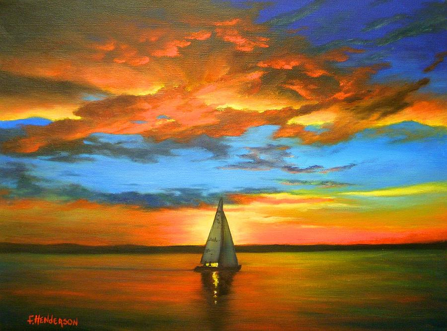 Sail Boat Painting - Peaceful Sailing by Francine Henderson
