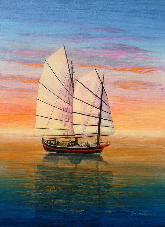 Chinese Junk Painting - Peaceful Waters by J W Kelly