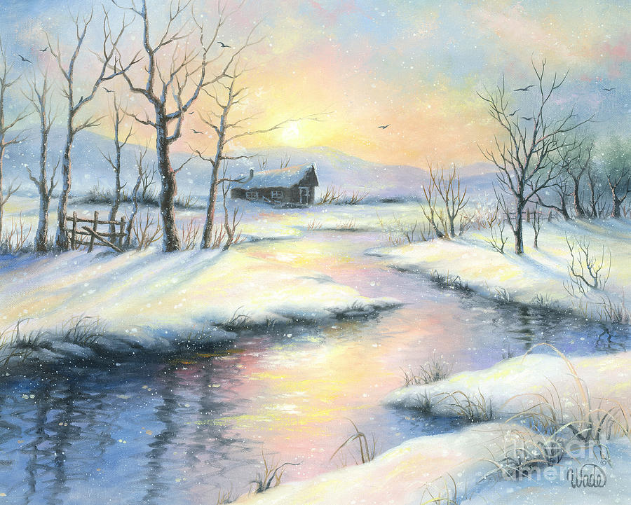 Peaceful Winter Painting by Vickie Wade