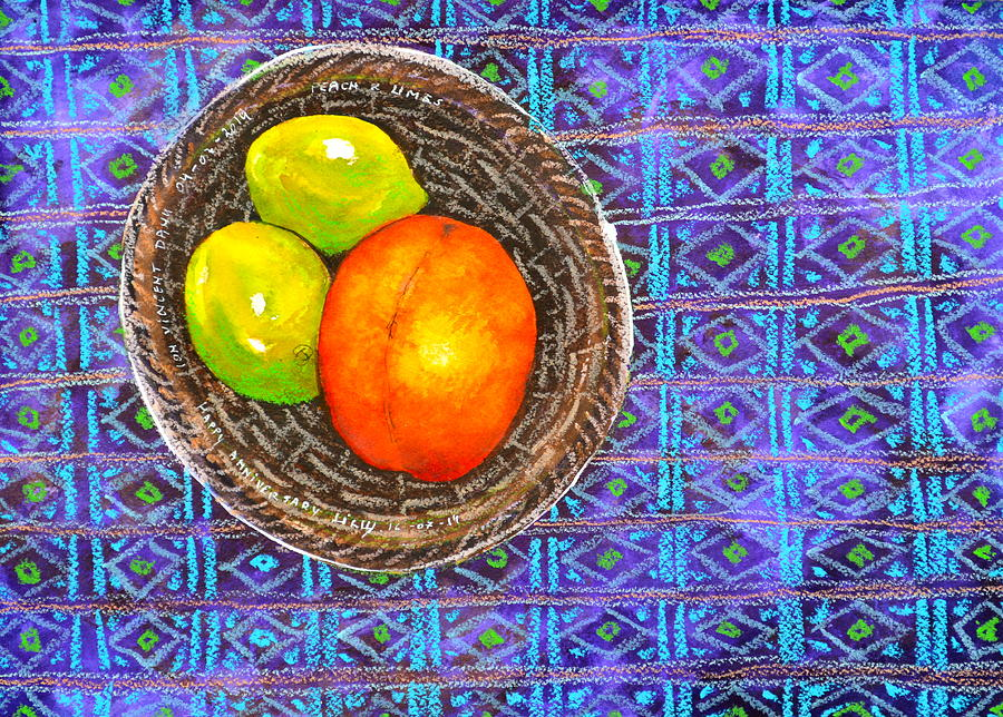 Peach And Limes Still Life Painting