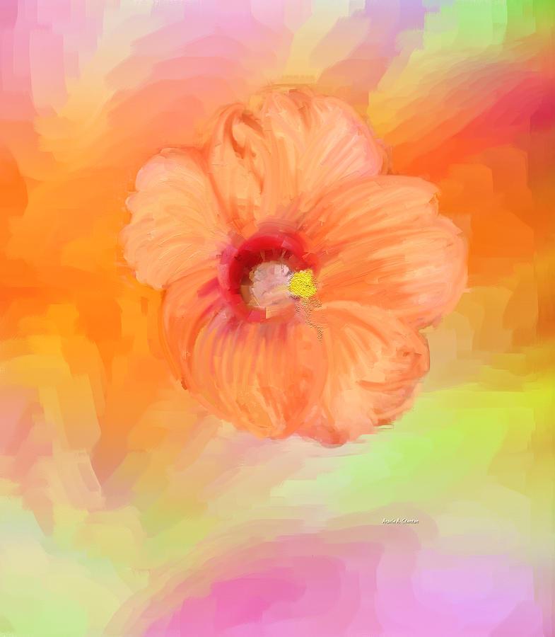 Peach Hibiscus Painting