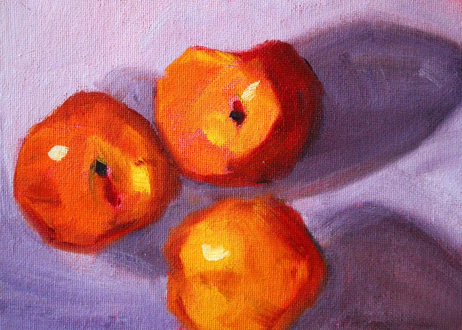 Peaches Painting - Peach Trio by Nancy Merkle