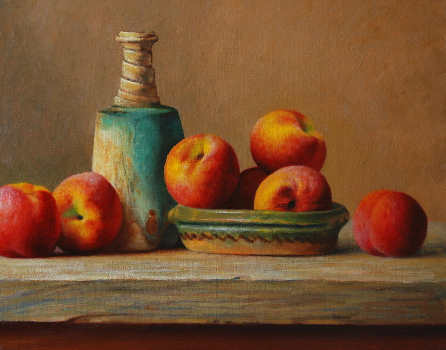 Peach Painting - Peaches And Green Ceramic by Dan Petrov