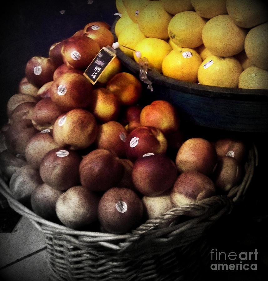 Peaches Photograph - Peaches And Lemons Antique by Miriam Danar