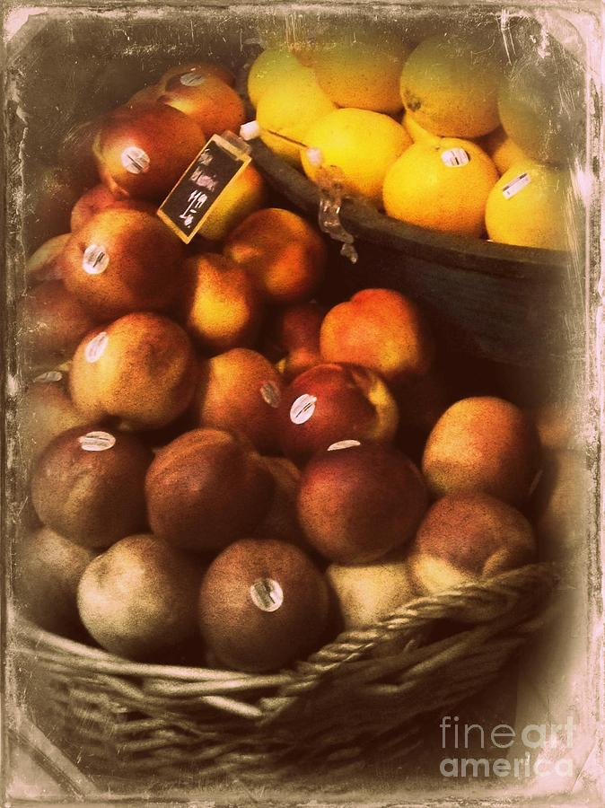 Fruit Photograph - Peaches And Lemons - Old Photo - Top Finisher by Miriam Danar