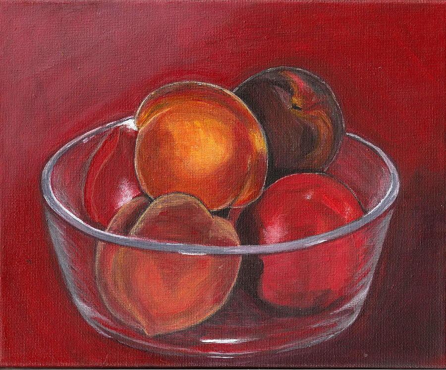 Peach Painting - Peaches And Nectarines by Vera Lysenko