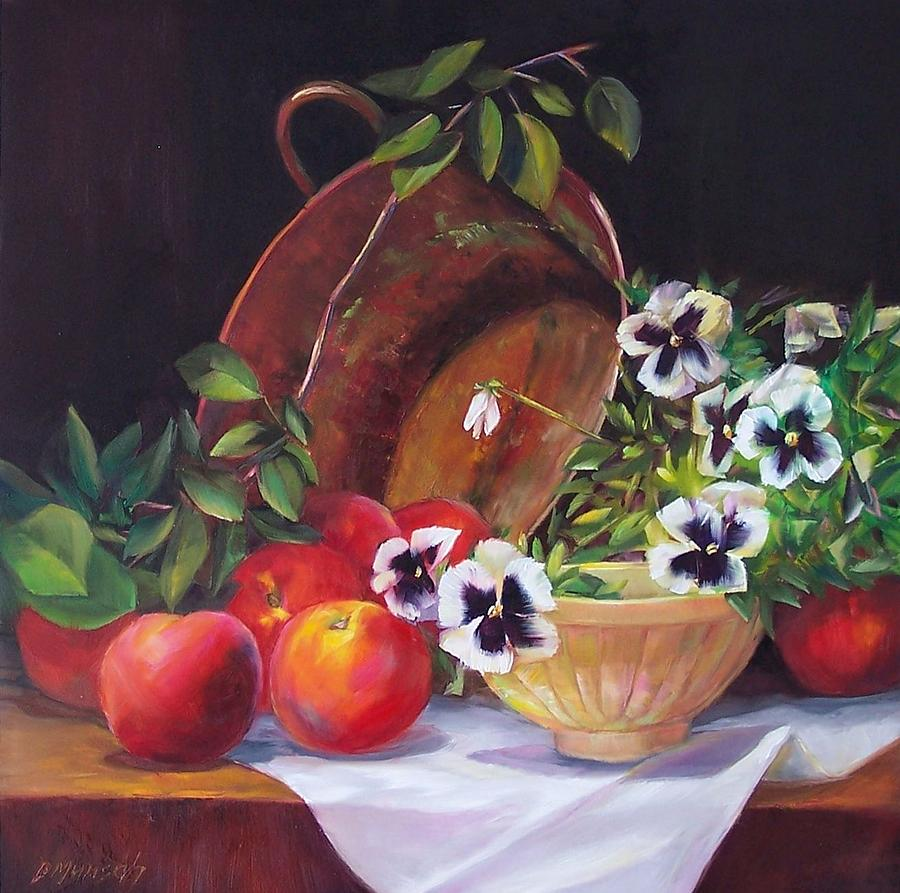 Kitchen Painting - Peaches And Pansies  by Donna Munsch