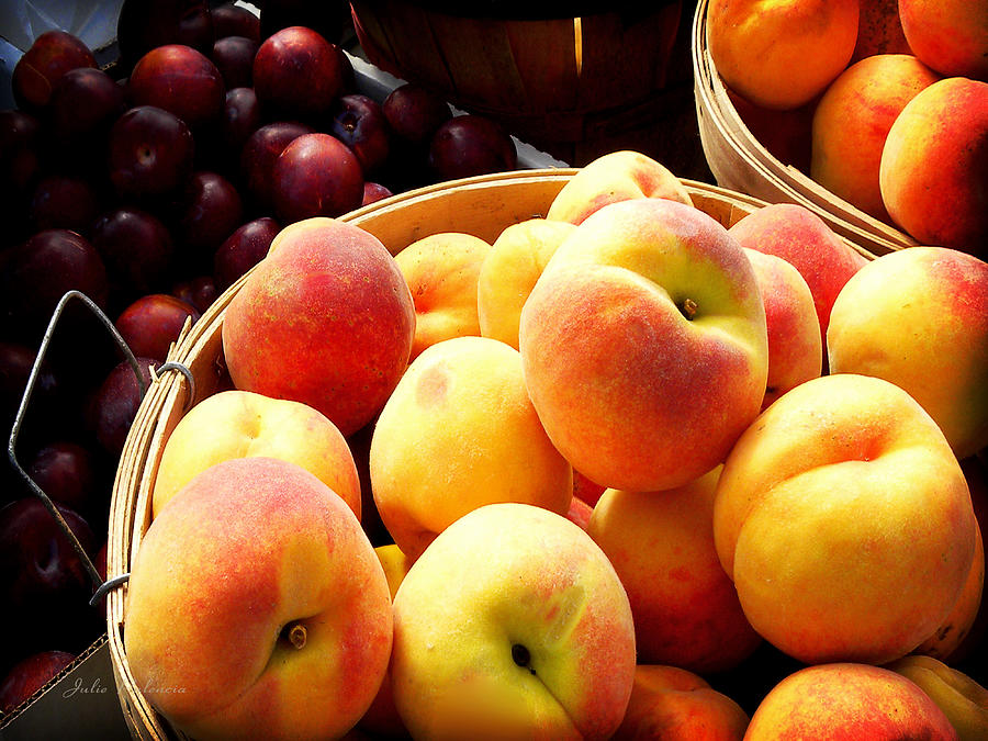 Organic Photograph - Peaches And Plums Farmers Market by Julie Palencia