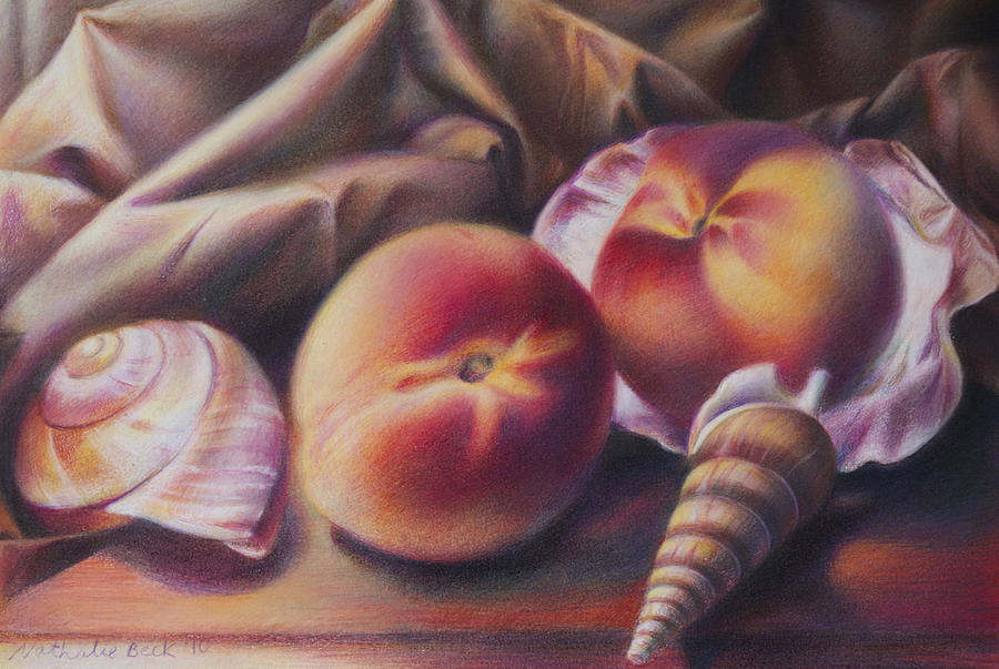 Still Life Painting - Peaches And Seashells by Nathalie Beck
